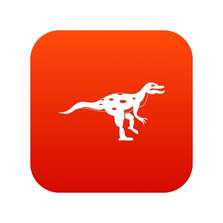 Ornithopod dinosaur icon digital red for any design isolated on white vector illustration