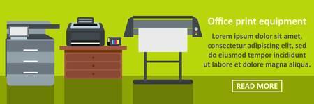 Office print equipment banner horizontal concept. Flat illustration of office print equipment banner horizontal vector concept for web
