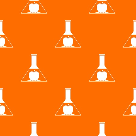 toxic substance: Test flask with apple pattern repeat seamless in orange color for any design. Vector geometric illustration Illustration