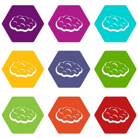 Cloud icon set many color hexahedron isolated on white vector illustration