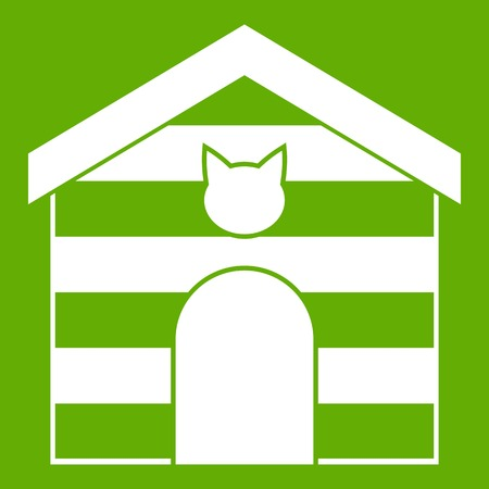 Cat house icon white isolated on green background. Vector illustration