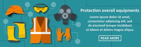 Protection overall equipments banner horizontal concept. Flat illustration of protection overall equipments banner horizontal vector concept for web