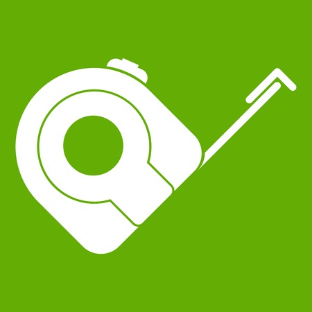 Roulette construction tool icon white isolated on green background. Vector illustration