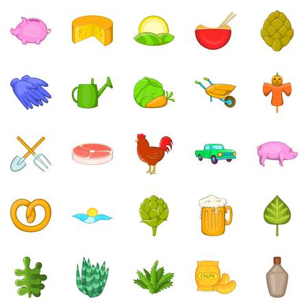 lease: Farm harvest icons set. Cartoon set of 25 farm harvest vector icons for web isolated on white background
