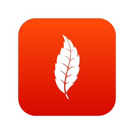 Narrow toothed leaf icon digital red for any design isolated on white vector illustration