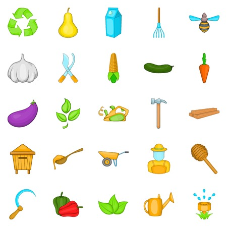 siembra: Iconos agrícolas establecidos. Conjunto de dibujos animados de 25 iconos de vector de cultivo para web aislado sobre fondo blanco
