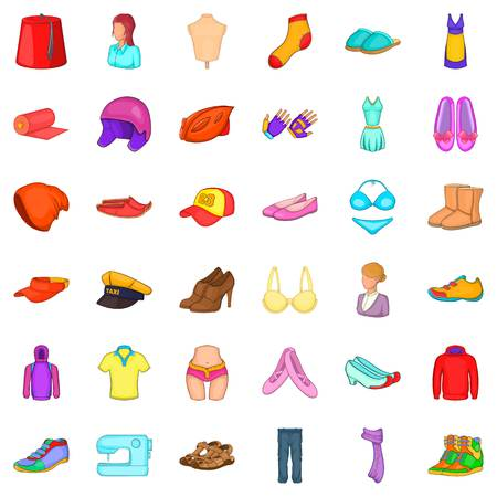 Costume icons set. Cartoon style of 36 costume vector icons for web isolated on white background