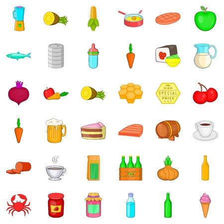 Feed icons set. Cartoon style of 36 feed vector icons for web isolated on white background