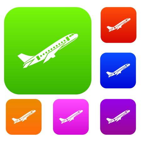 Aircraft set icon in different colors isolated vector illustration. Premium collection