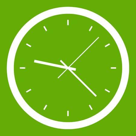 벽 시계 아이콘 녹색 흰색 벡터 일러스트 레이 션