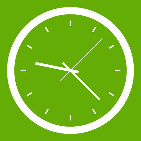 Wall clock icon white on green Vector illustration