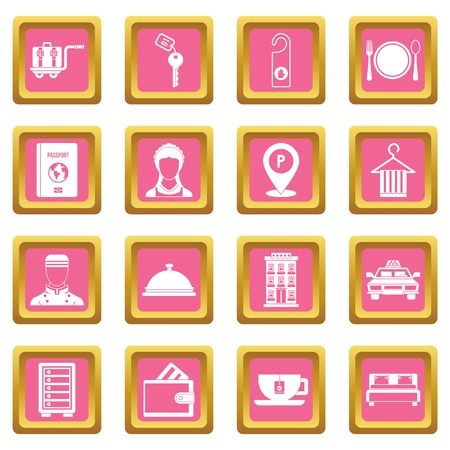 Hotel icons set in pink color isolated vector illustration for web and any design
