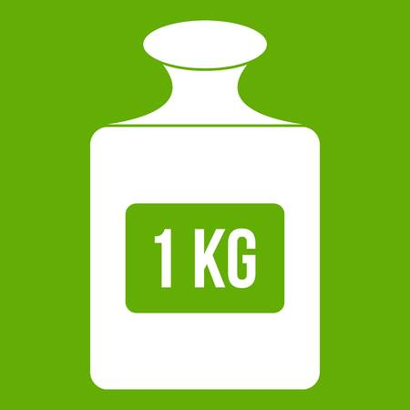 One kilogram weight icon white isolated on green background. Vector illustration