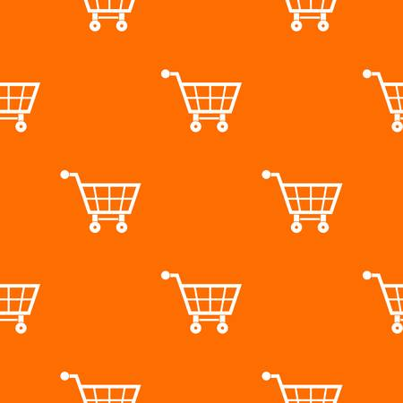 convenient: Shopping cart pattern repeat seamless in orange color for any design. Vector geometric illustration