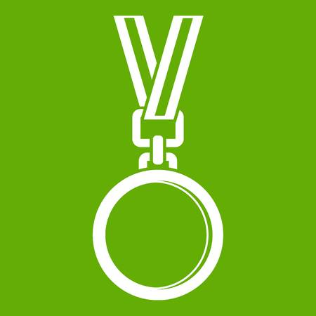 Cat medal icon white isolated on green background. Vector illustration
