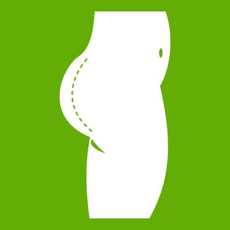 Plastic surgery of buttocks icon white isolated on green background. Vector illustration