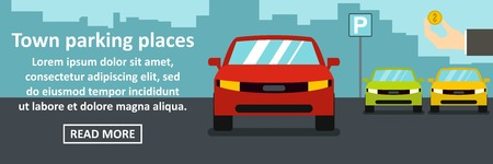 Town parking places banner horizontal concept. Flat illustration of town parking places banner horizontal vector concept for web