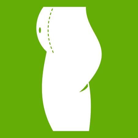 Woman prepared to belly surgery icon white isolated on green background. Vector illustration Illustration