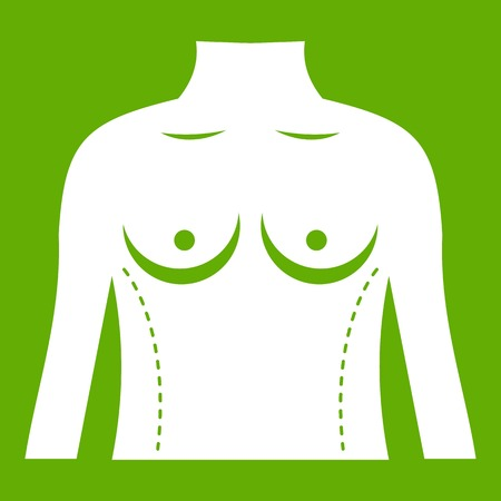 Plastic surgery of torso icon white isolated on green background. Vector illustration