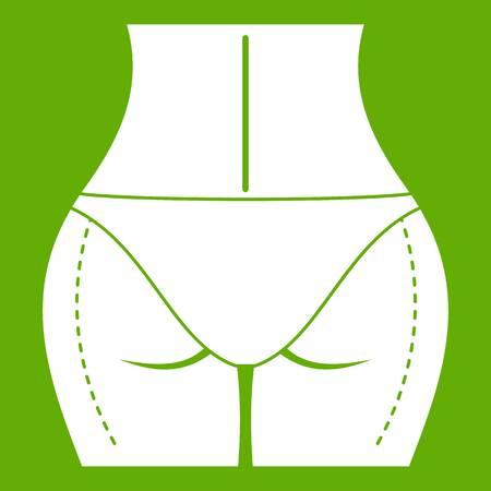 女性の尻は、覚悟をして整形外科アイコン白緑の背景に分離されました。ベクトル図
