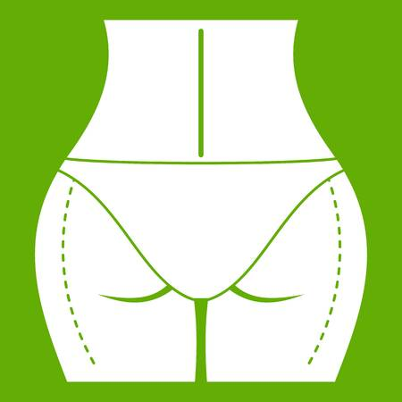 Female buttocks prepared to plastic surgery icon white isolated on green background. Vector illustration