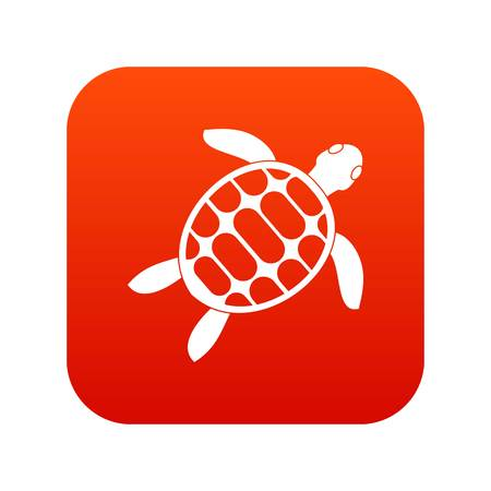 Turtle icon digital red for any design isolated on white vector illustration
