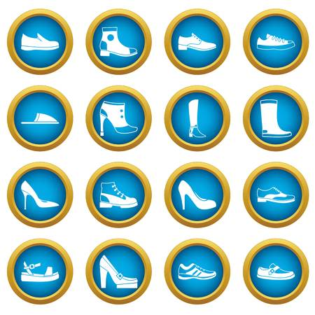 loafer: Shoe icons blue circle set isolated on white for digital marketing