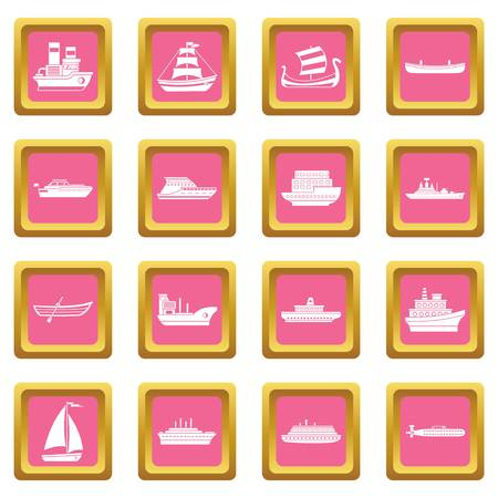 Sea transport icons set in pink color isolated vector illustration for web and any design