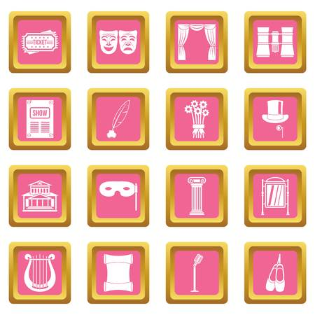 Theater icons set in pink color isolated vector illustration for web and any design