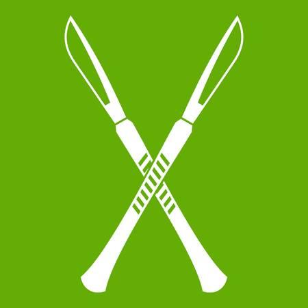 Surgeon scalpels icon green