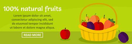 100 percent natural fruits banner horizontal concept