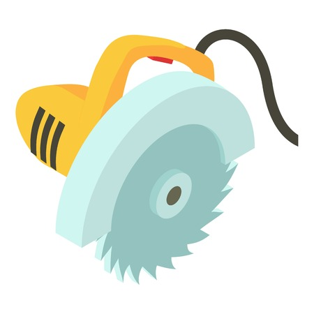 saw blade: Electric saw icon, isometric 3d style vector illustration.