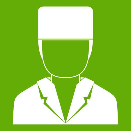 Medical doctor icon white isolated on green background. Vector illustration