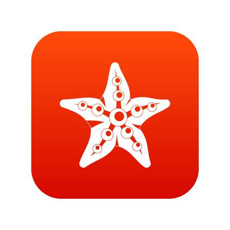 Starfishicon digital red for any design isolated on white vector illustration