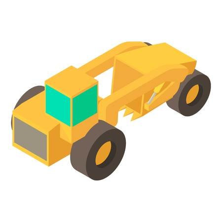 Motor grader machine icon. Isometric illustration of motor grader machine vector icon for web