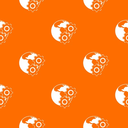 World planet and gears pattern repeat seamless in orange color for any design. Vector geometric illustration Illustration