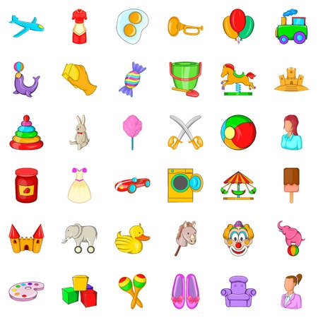 Baby toy icons set. Cartoon style of 36 baby toy vector icons for web isolated on white background