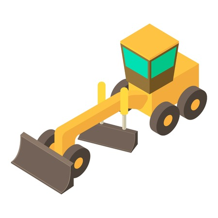 Yellow motor grader icon. Isometric illustration of yellow motor grader vector icon for web