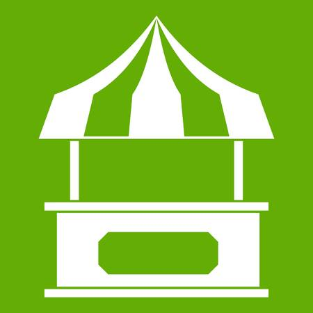 Store kiosk with striped awning icon white isolated on green background. Vector illustration Illustration
