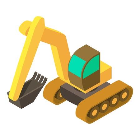Excavator icon. Isometric illustration of excavator vector icon for web