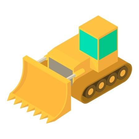 Bulldozer icon, isometric 3d style