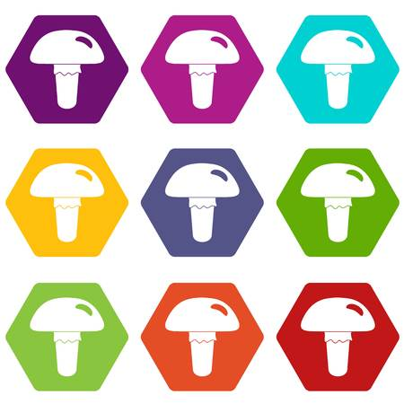 Poisonous mushroom icon set color hexahedron Illustration