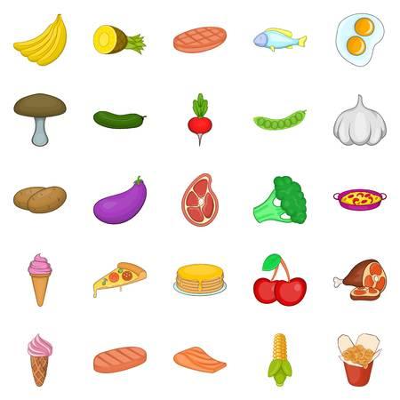 Mushroom icons set, cartoon style
