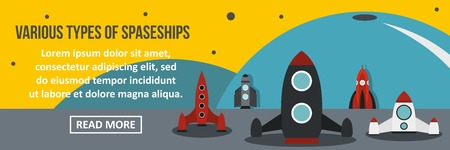 Various types of spaceship banner horizontal concept