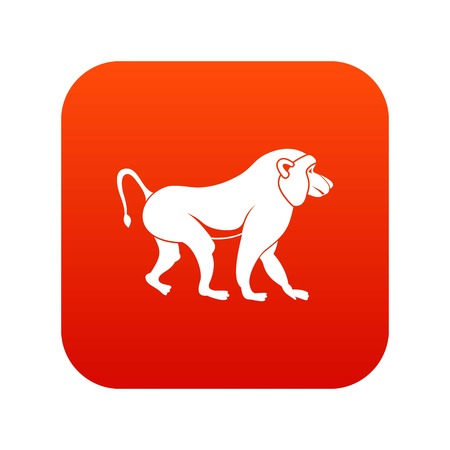 Japanese macaque icon digital red for any design isolated on white vector illustration