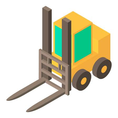 Yellow forklift icon. Isometric illustration of yellow forklift vector icon for web