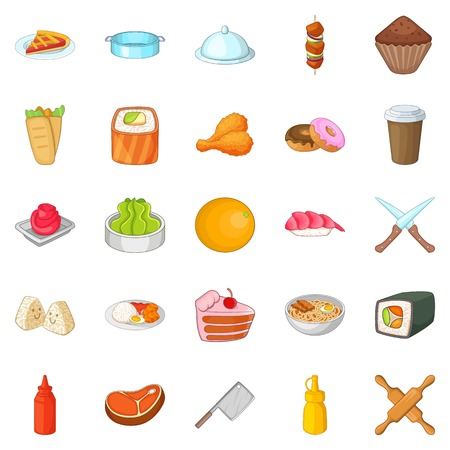 Ingredient icons set. Cartoon set of 25 ingredient vector icons for web isolated on white background Illustration