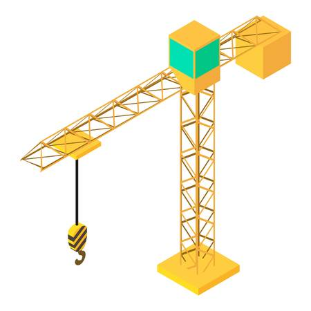 Building crane icon. Isometric illustration of building crane vector icon for web Illustration