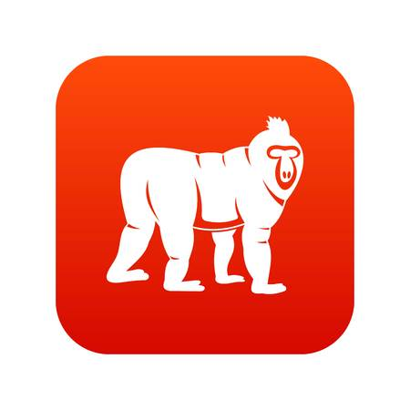 Mandrill monkey icon digital red