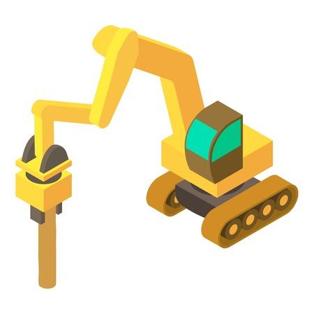掘削機のハンマー アイコン、等角投影の 3d スタイル